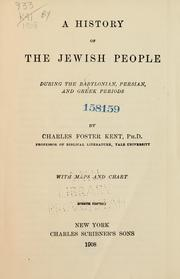 Cover of: A history of the Jewish people during the Babylonian, Persian, and Greek periods