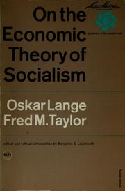 Cover of: On the economic theory of socialism