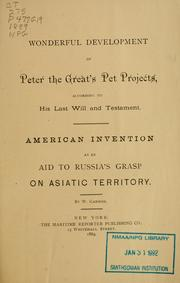 Wonderful development of Peter the Greats pet projects