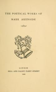 Cover of: The poetical works of Mark Akenside