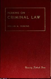 Cover of: Criminal law | Rollin Morris Perkins