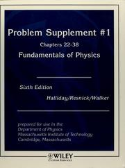 Cover of: Problem supplement ... to accompany sixth edition [of] Fundamentals of physics [by] David Halliday, Robert Resnick, Jearl Walker