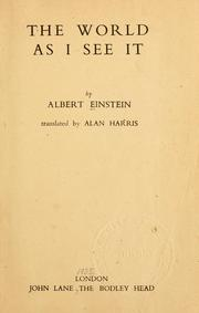 Cover of: The world as I see it | Albert Einstein
