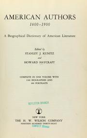 Cover of: American authors, 1600 - 1900 | Kunitz, Stanley
