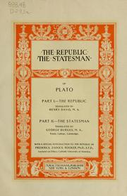 Cover of: The Republic. The Statesman of Plato ...