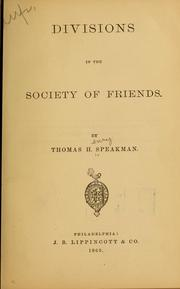 Cover of: Divisions in the Society of Friends