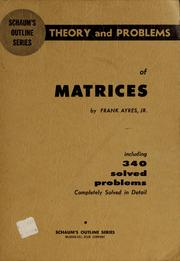 Cover of: Schaum's outline of theory and problems of matrices