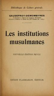 Cover of: Les institutions musulmanes