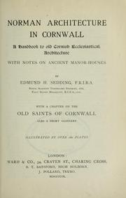 Cover of: Norman architecture in Cornwall
