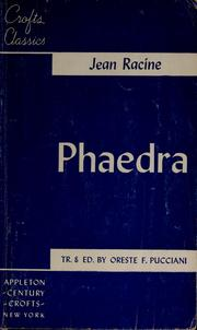Cover of: Phaedra | Jean Racine