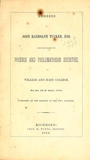 Cover of: Address of John Randolph Tucker