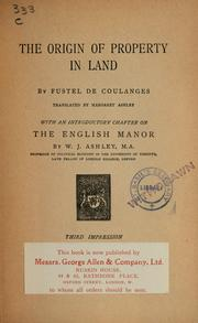 Cover of: The origin of property in land