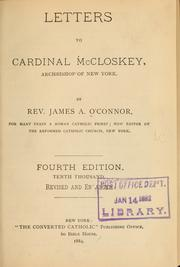 Cover of: Letters to Cardinal McCloskey... | James A. O