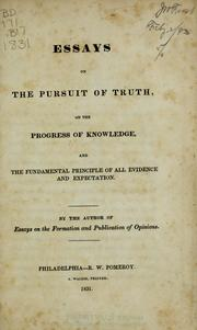 Cover of: Essays on the pursuit of truth