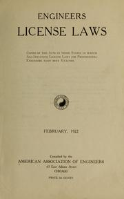 Cover of: Engineers license laws | American association of engineers. [from old catalog]