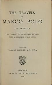 Cover of: The travels of Marco Polo, the Venetian
