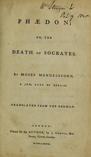 Cover of: Phædon;, or, The death of Socrates