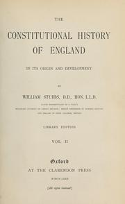 Cover of: The constitutional history of England in its origin and development by William Stubbs