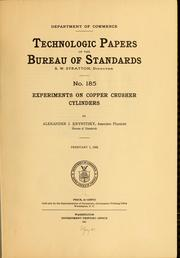 Cover of: Experiments on copper crusher cylinders