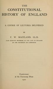 Cover of: The constitutional history of England