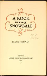 Cover of: A rock in every snowball