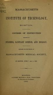 Cover of: Courses of instruction relating to hygiene, sanitary science, and biology