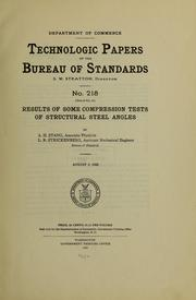 Cover of: Results of some compression tests of structural steel angles