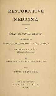 Cover of: Restorative medicine