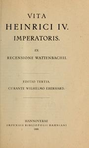 Cover of: Vita Heinrici IV Imperatoris