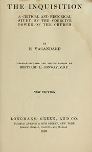Cover of: The Inquisition by E. Vacandard