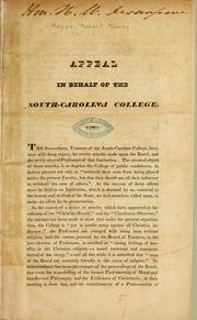 Cover of: Appeal in behalf of the South-Carolina College