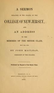 Cover of: A sermon preached in the chapel of the College of New Jersey