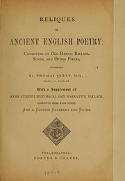 Cover of: Reliques of ancient English poetry