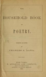 Cover of: The household book of poetry. | Charles A. Dana