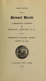 Cover of: Edward North: a memorial address
