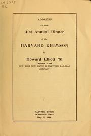 Cover of: Address at the 41st annual dinner of the Harvard Crimson