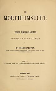 Cover of: Die Morphiumsucht