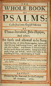 Whole Book of Psalms by Thomas Sternhold