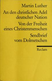 Cover of: An den christlichen Adel deutscher Nation | Martin Luther