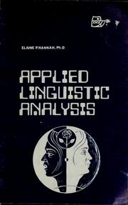 Cover of: Applied linguistic analysis