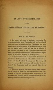 Cover of: By-laws of the corporation of the Massachusetts institute of technology