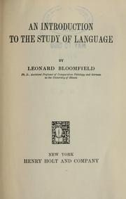 Cover of: An introduction to the study of language