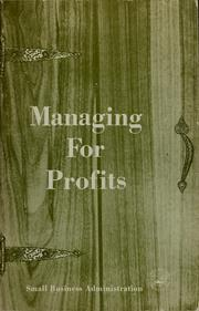 Cover of: Managing for profits
