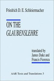 Cover of: On the Glaubenslehre | Friedrich D. E. Schleiermacher