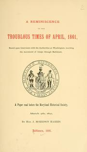 Cover of: A reminiscence of the troublous times of April, 1861