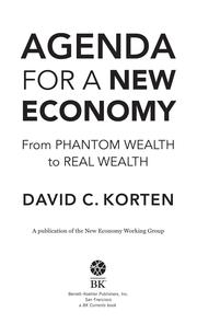 Cover of: Agenda for a New Economy | David C Korten