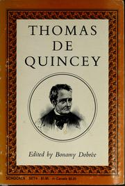 Cover of: Thomas De Quincey. | Thomas De Quincey