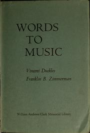 Cover of: Words to music | Vincent H. Duckles