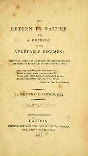 Cover of: The return to nature, or, A defence of the vegetable regimen