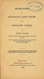 Cover of: Translation of Buchanan's Latin psalms into English verse